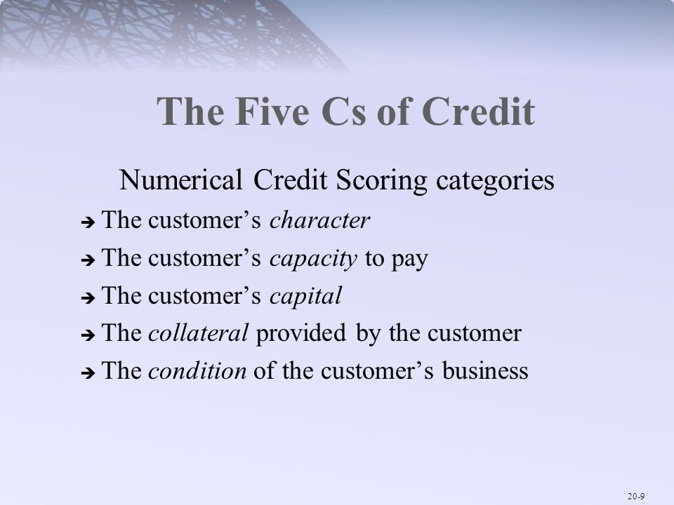 Numerical Credit Scoring categories