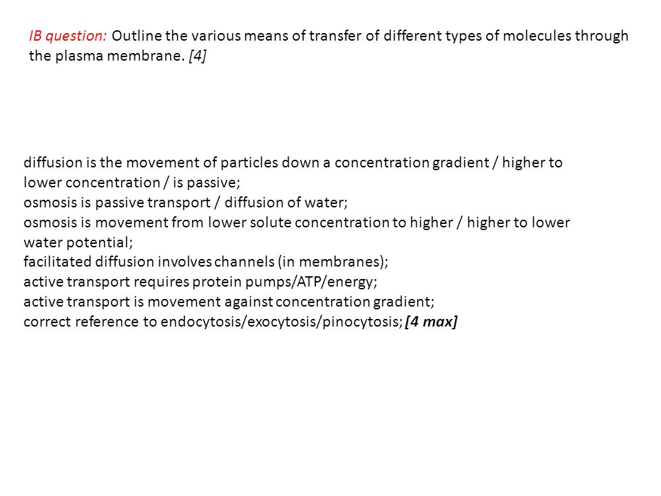 IB question: Outline the various means of transfer of different types of molecules through the plasma membrane. [4]