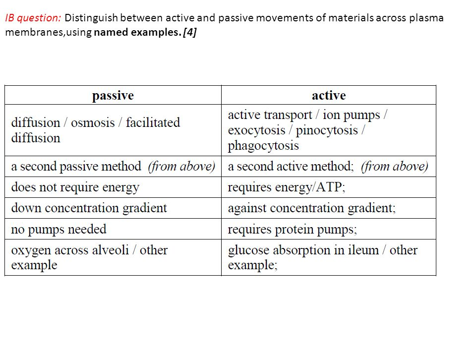 IB question: Distinguish between active and passive movements of materials across plasma membranes,using named examples.