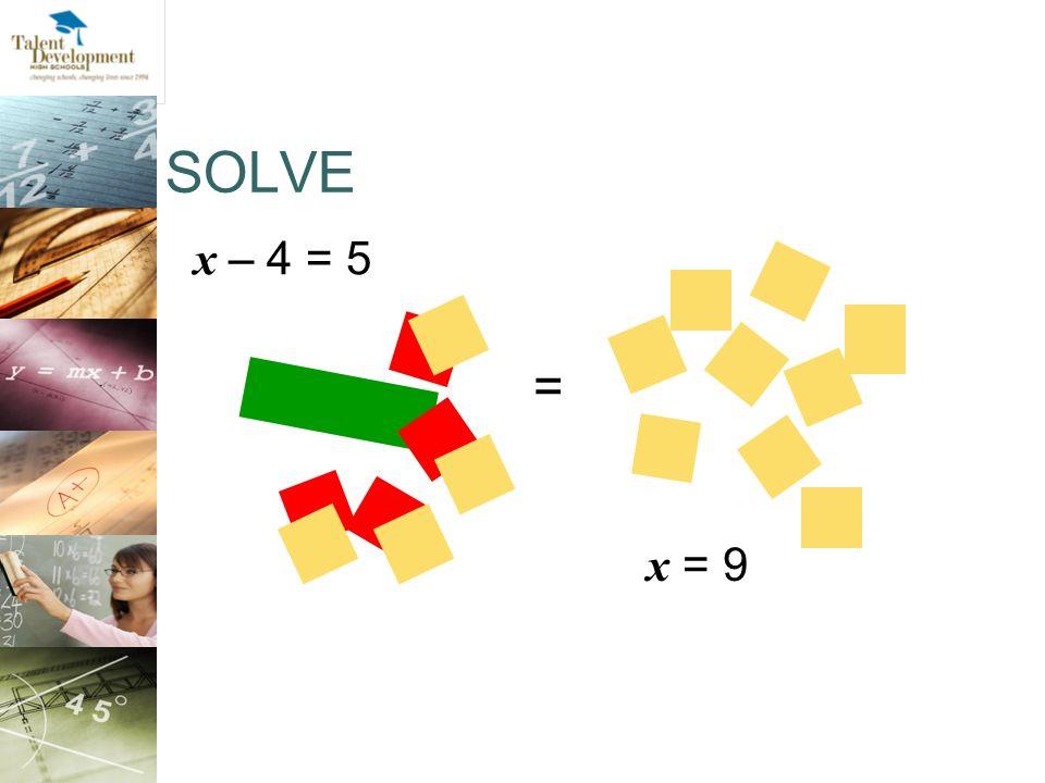 SOLVE x – 4 = 5. =