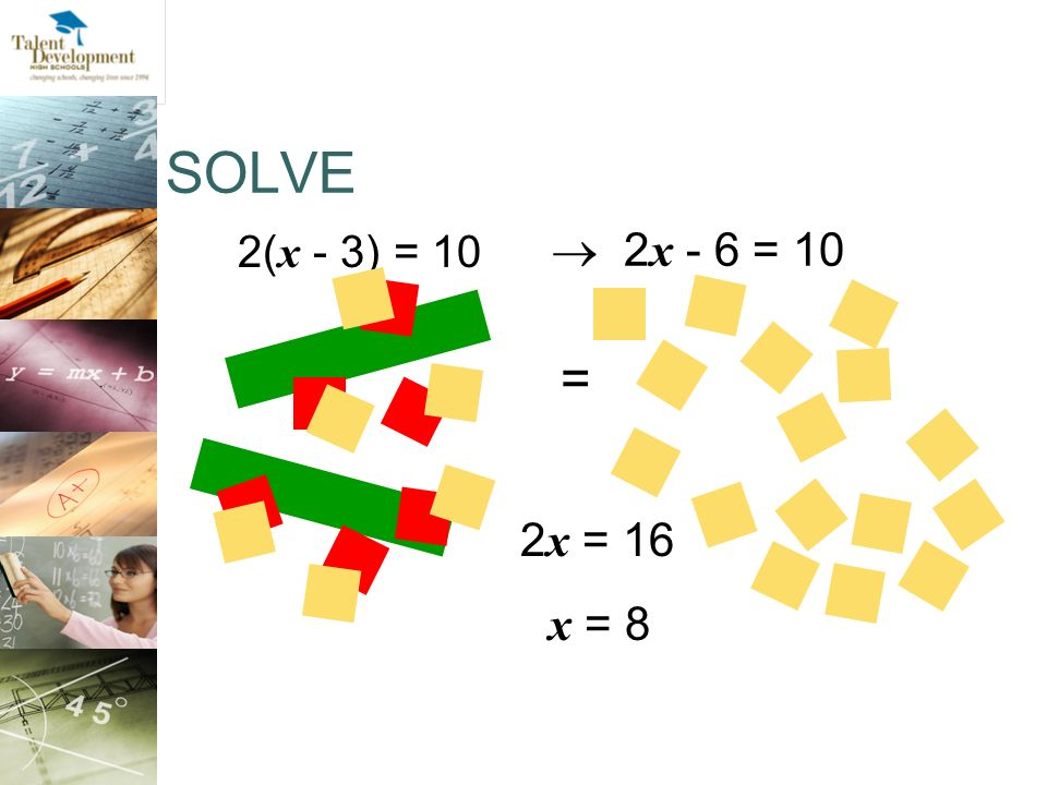 SOLVE 2(x - 3) = 10.  2x - 6 = 10. = Another example, using the distributive property. 2x = 16.