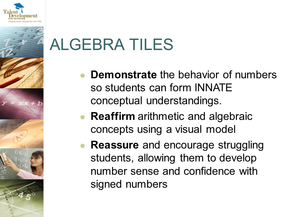 ALGEBRA TILES Demonstrate the behavior of numbers so students can form INNATE conceptual understandings.