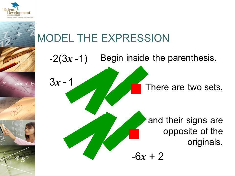 MODEL THE EXPRESSION 3x - 1 -6x + 2 -2(3x -1)