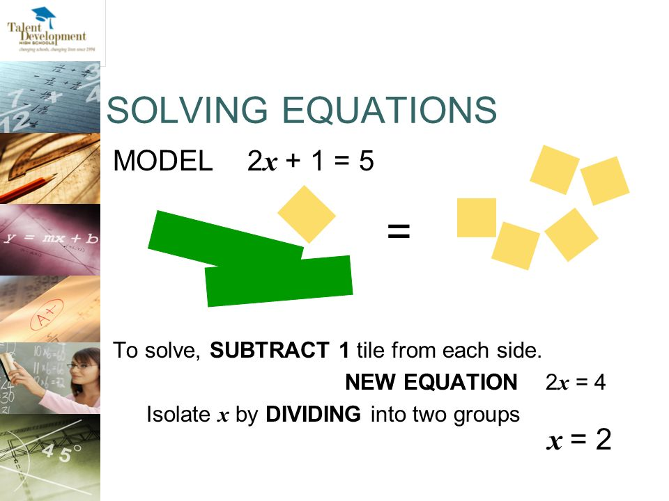 = SOLVING EQUATIONS x = 2 MODEL 2x + 1 = 5