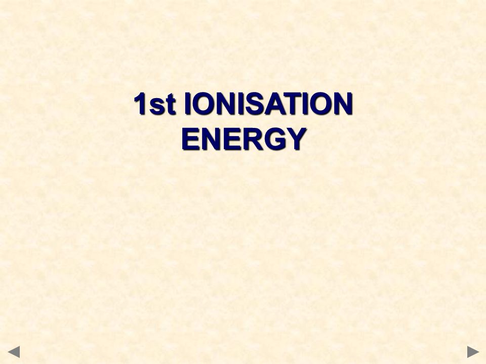 1st IONISATION ENERGY