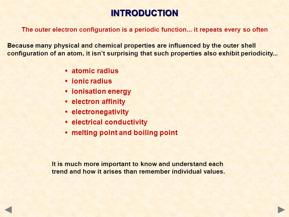 INTRODUCTION • ionic radius • ionisation energy • electron affinity