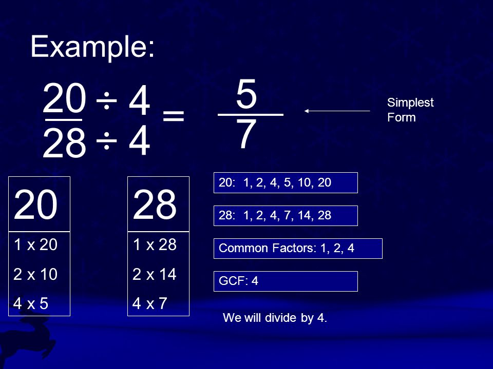 Example: 5. 20. ÷ 4. = Simplest Form. 7. 28. ÷ 4. 20: 1, 2, 4, 5, 10, 20. 20. 28. 28: 1, 2, 4, 7, 14, 28.
