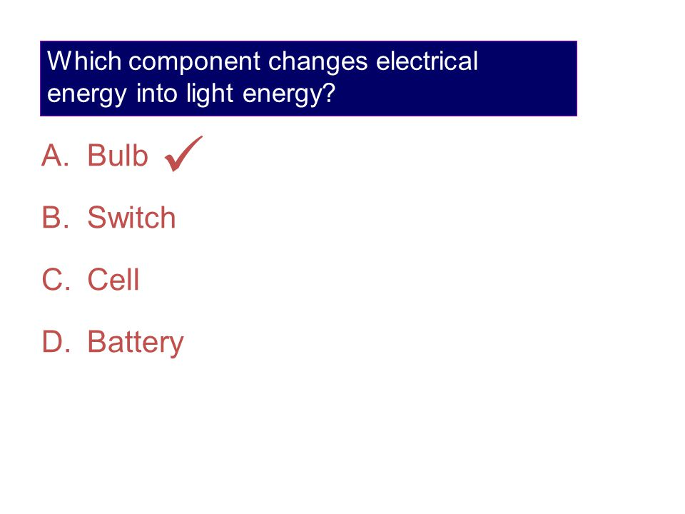 Which component changes electrical energy into light energy