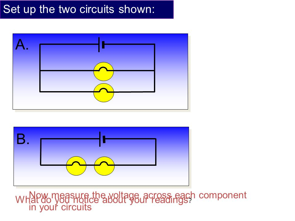 Set up the two circuits shown: