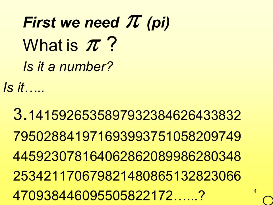 What is  First we need  (pi) Is it a number Is it…..