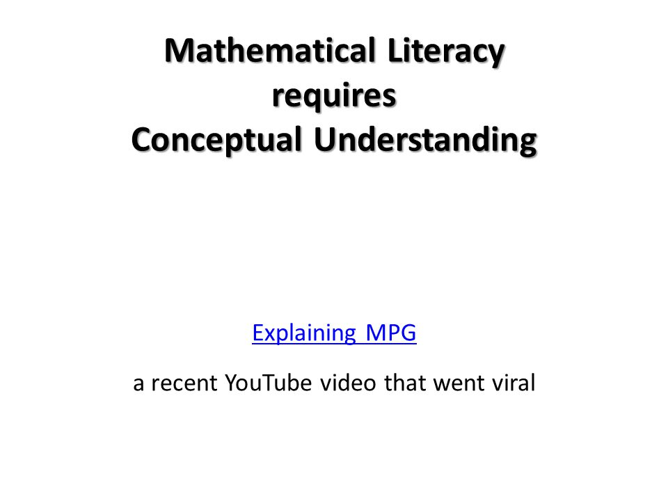Mathematical Literacy requires Conceptual Understanding