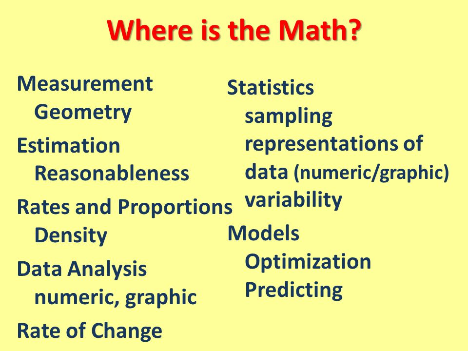 Where is the Math Measurement Geometry Estimation Reasonableness Rates and Proportions Density Data Analysis numeric, graphic Rate of Change