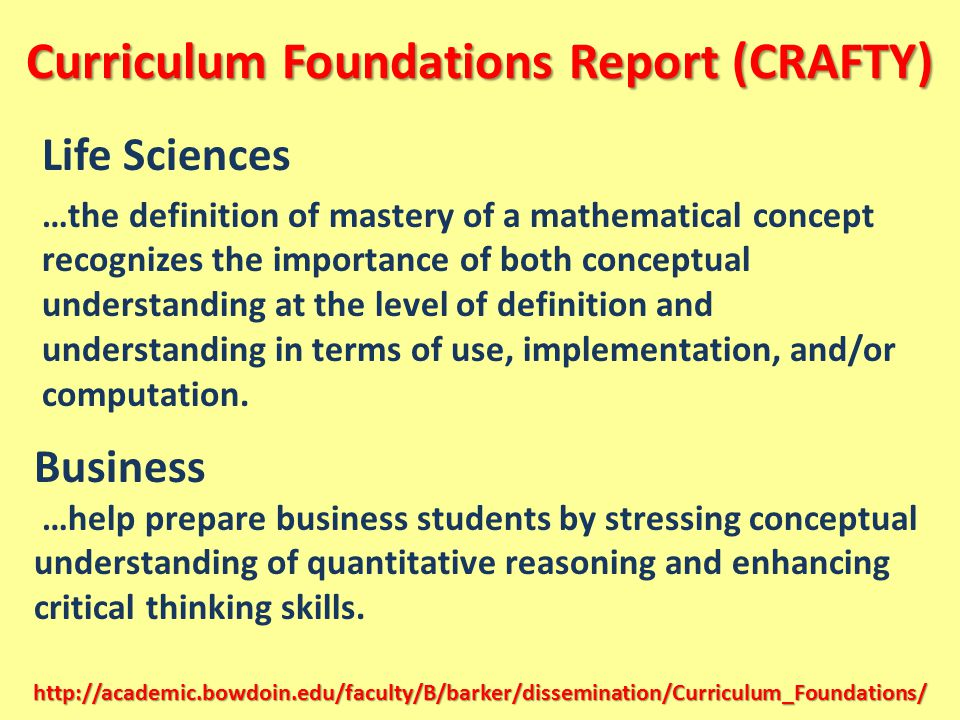 Curriculum Foundations Report (CRAFTY)
