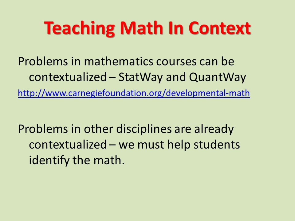 Teaching Math In Context