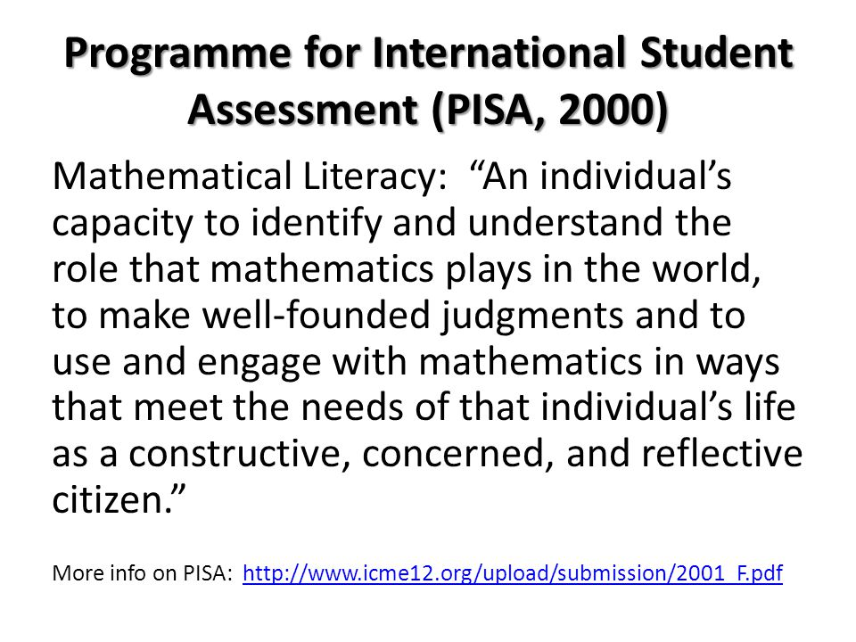 Programme for International Student Assessment (PISA, 2000)
