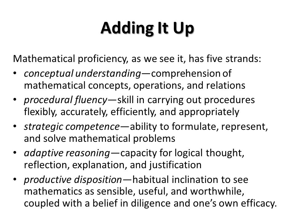 Adding It Up Mathematical proficiency, as we see it, has five strands: