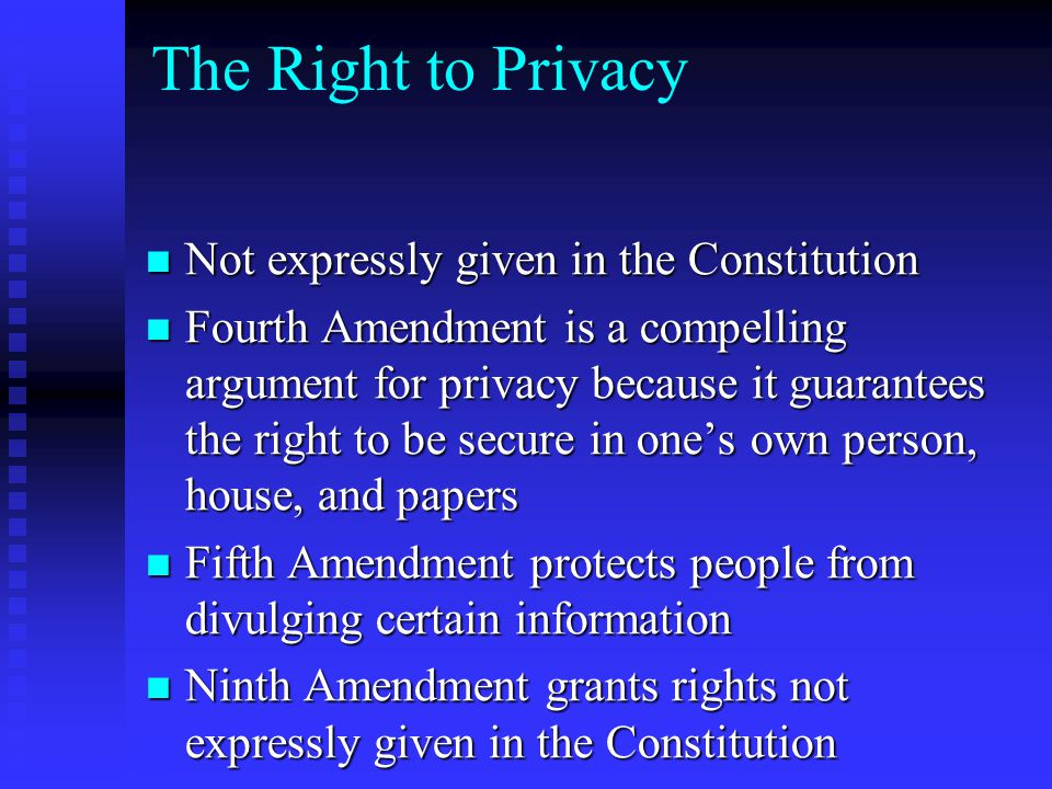 The Right to Privacy Not expressly given in the Constitution