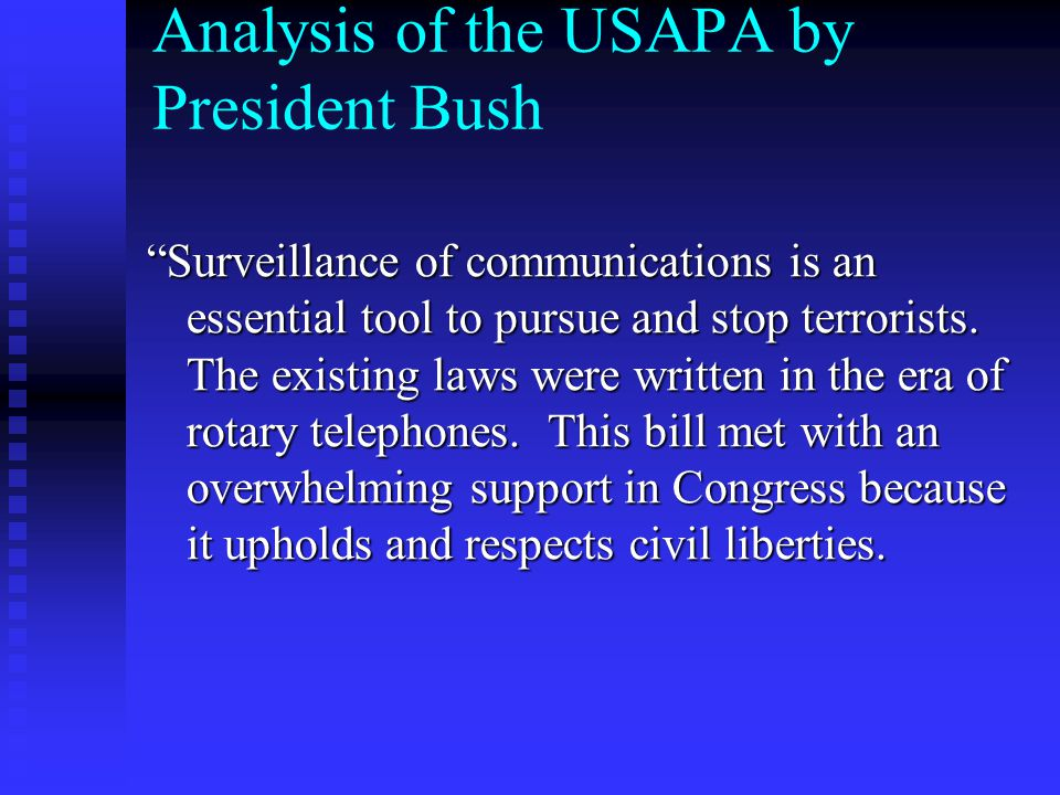 Analysis of the USAPA by President Bush