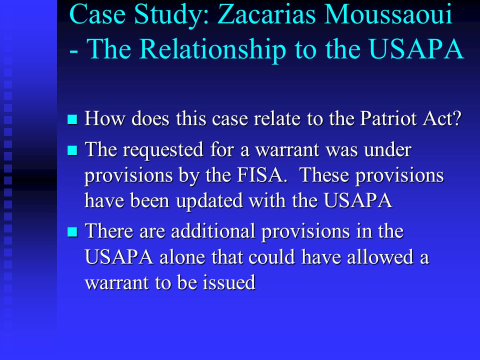 Case Study: Zacarias Moussaoui - The Relationship to the USAPA