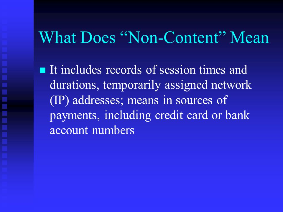 What Does Non-Content Mean