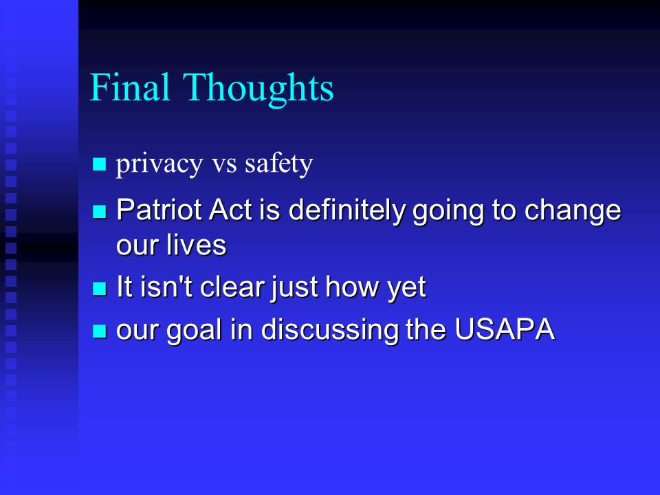 Final Thoughts privacy vs safety