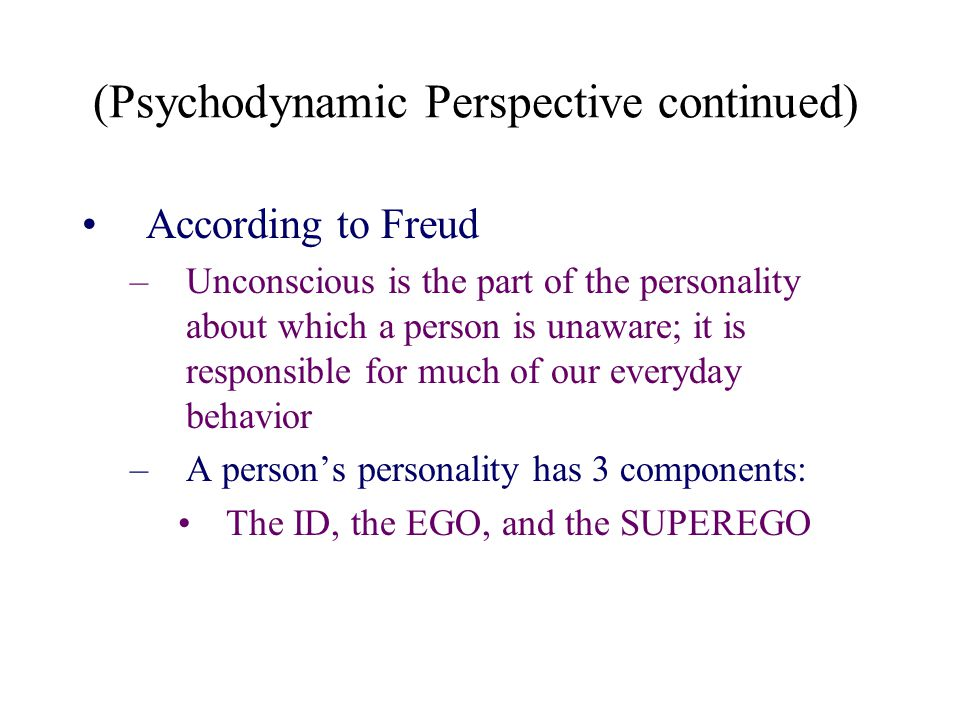 (Psychodynamic Perspective continued)