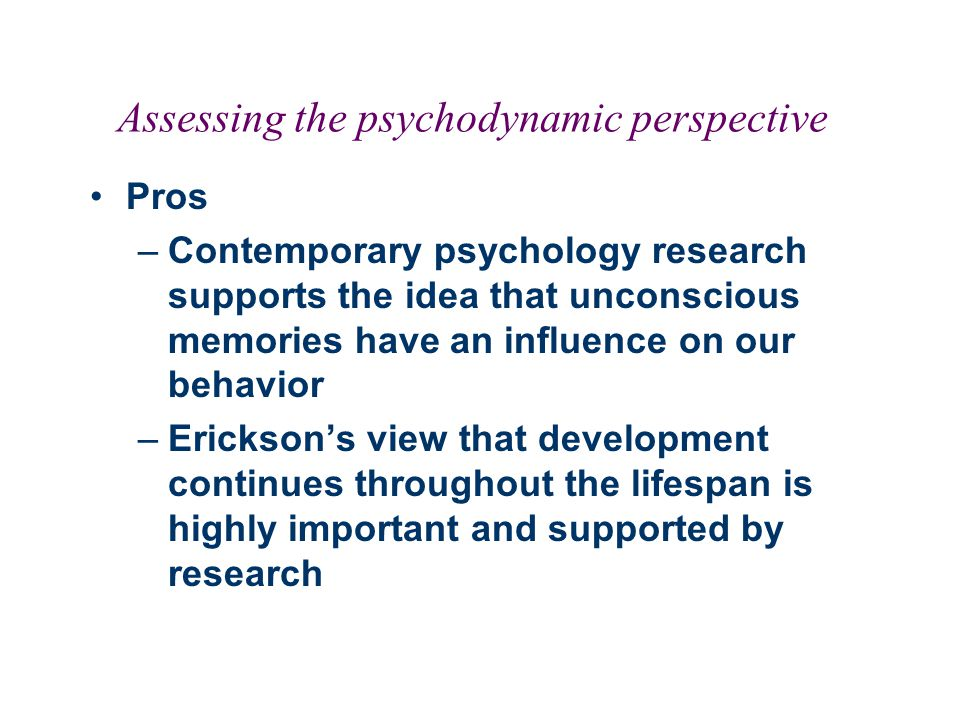 Assessing the psychodynamic perspective