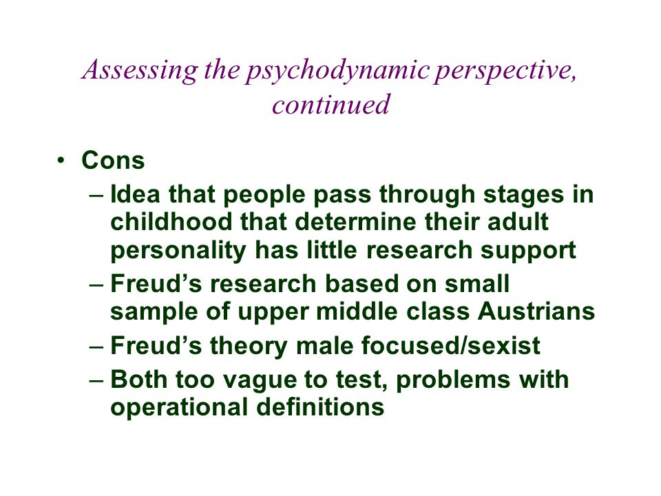 Assessing the psychodynamic perspective, continued