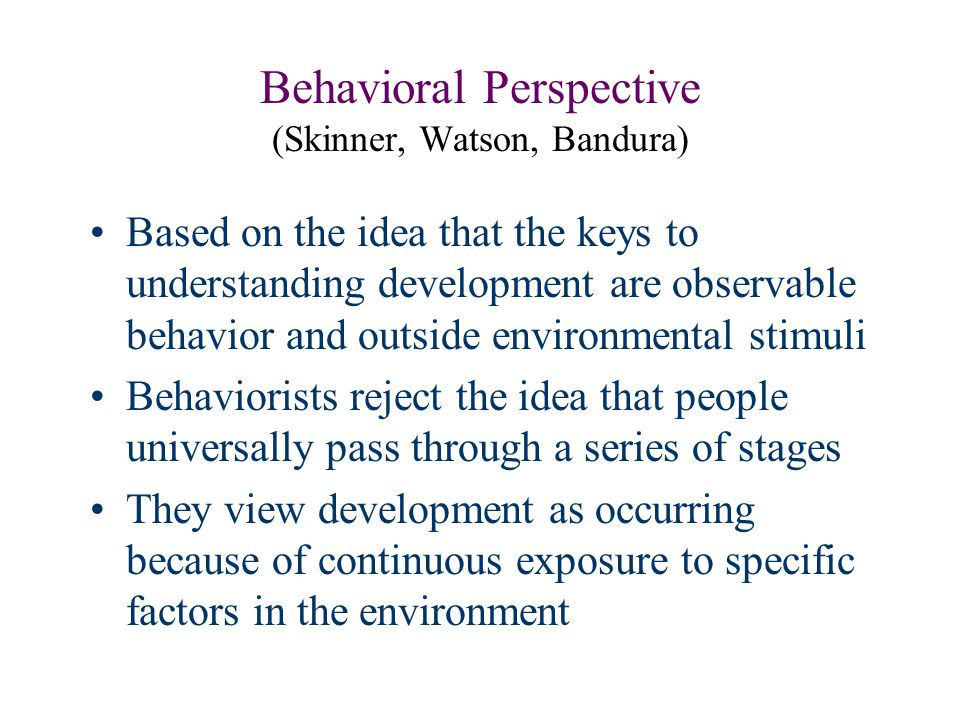 Behavioral Perspective (Skinner, Watson, Bandura)