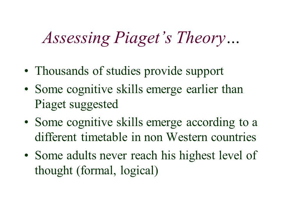 Assessing Piaget's Theory…