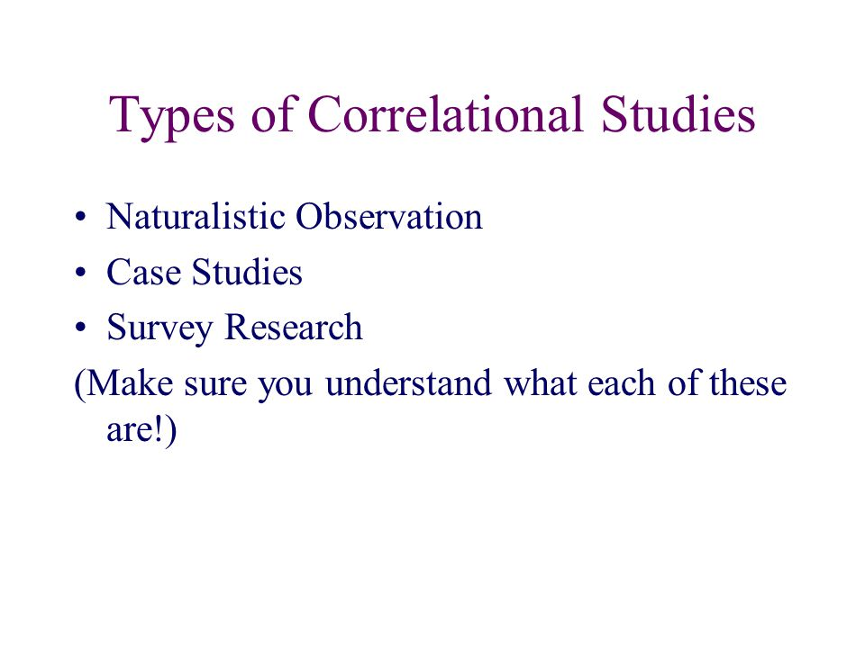 Types of Correlational Studies