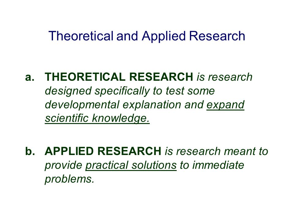Theoretical and Applied Research