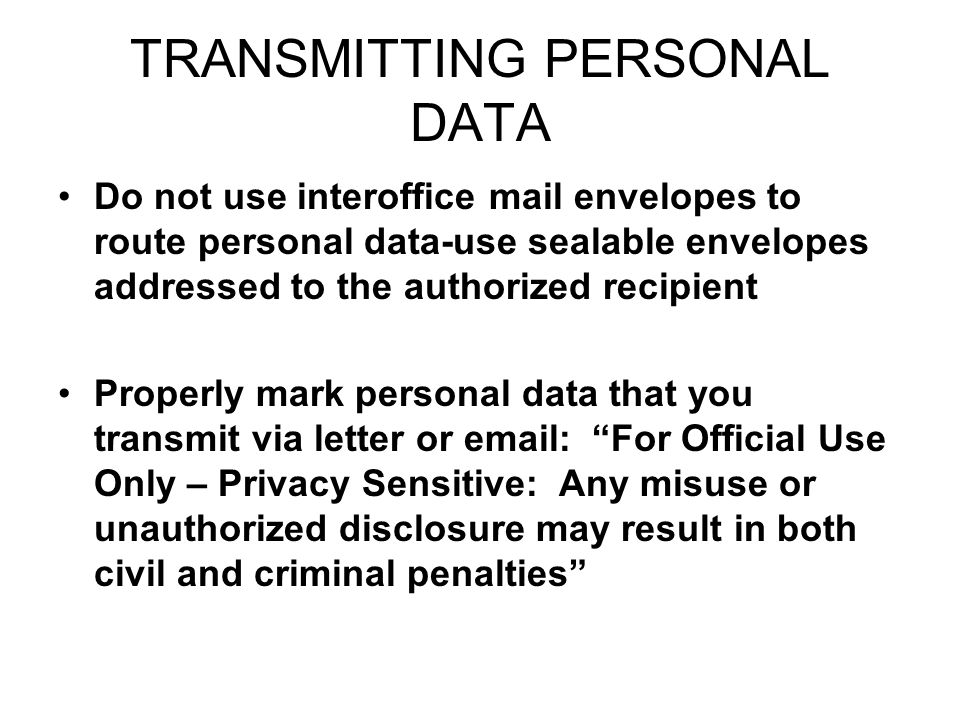 TRANSMITTING PERSONAL DATA