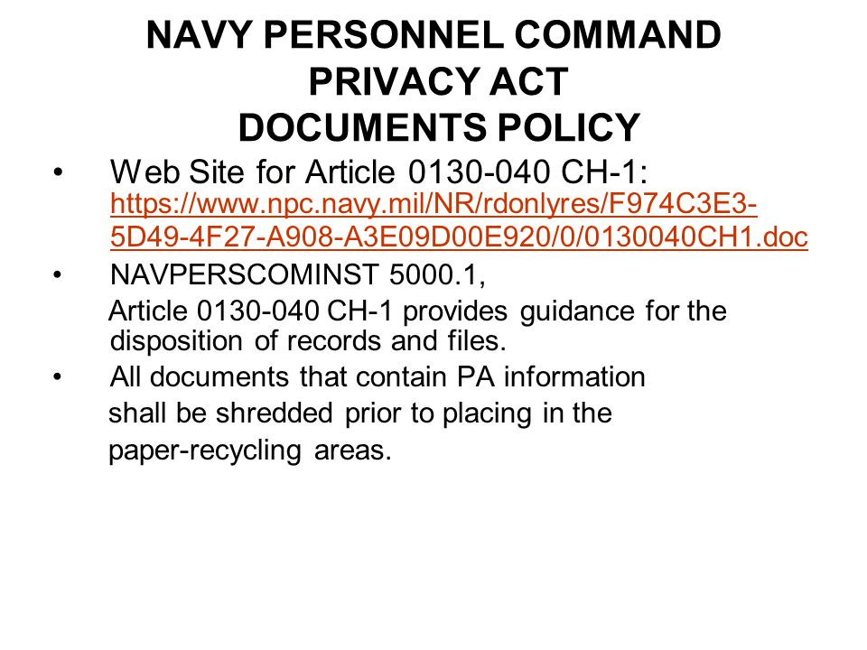 NAVY PERSONNEL COMMAND PRIVACY ACT DOCUMENTS POLICY