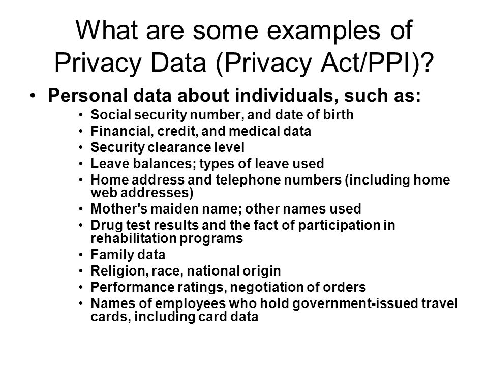 What are some examples of Privacy Data (Privacy Act/PPI)