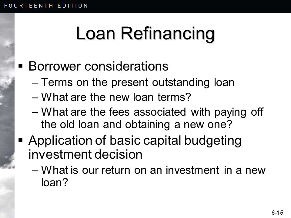 Loan Refinancing Borrower considerations