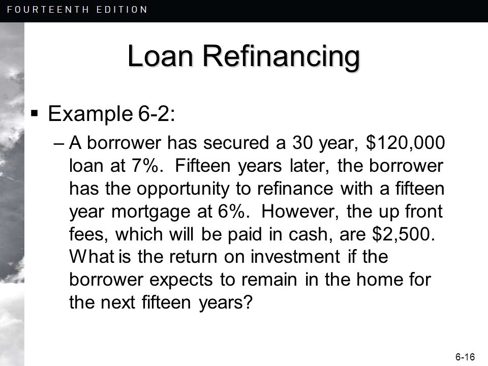 Loan Refinancing Example 6-2: