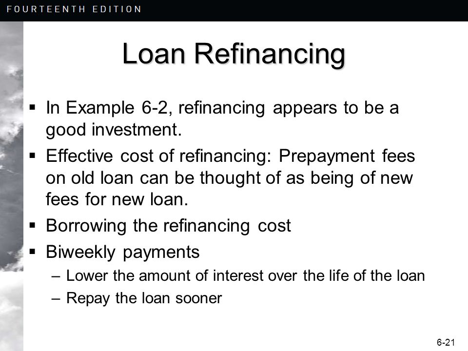 Loan Refinancing In Example 6-2, refinancing appears to be a good investment.