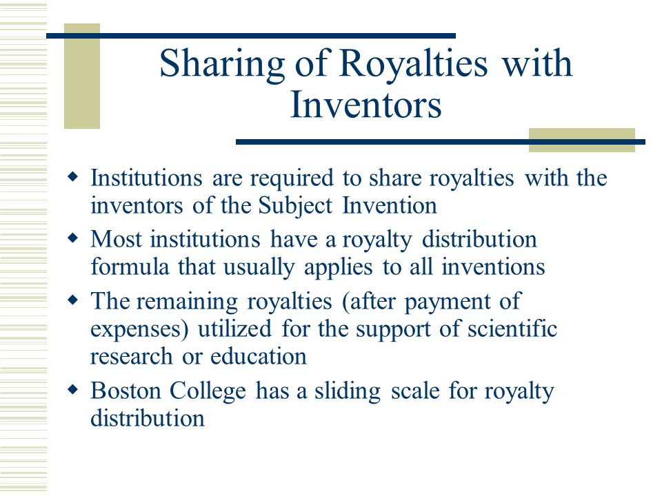 Sharing of Royalties with Inventors