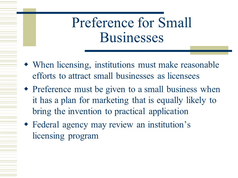 Preference for Small Businesses