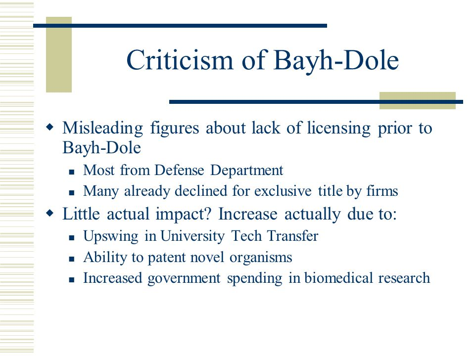 Criticism of Bayh-Dole