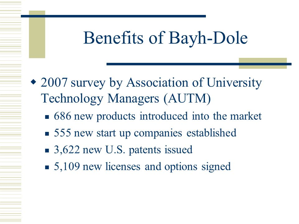 Benefits of Bayh-Dole 2007 survey by Association of University Technology Managers (AUTM) 686 new products introduced into the market.
