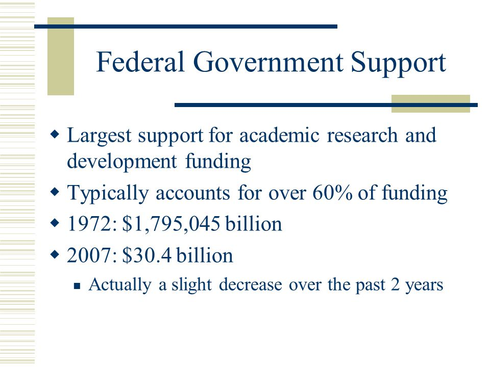 Federal Government Support