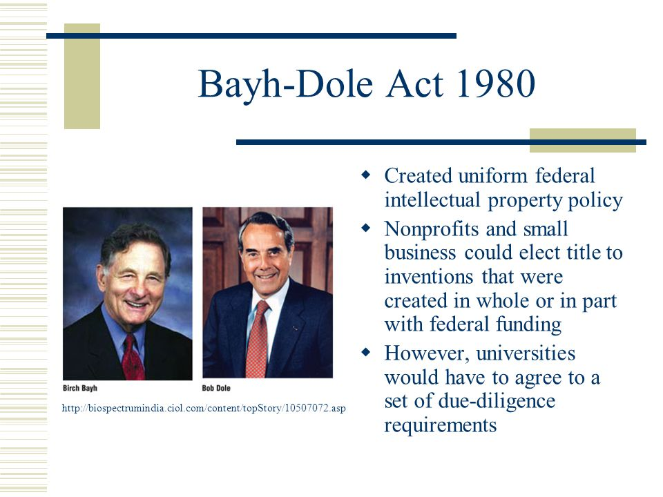 Bayh-Dole Act 1980 Created uniform federal intellectual property policy.