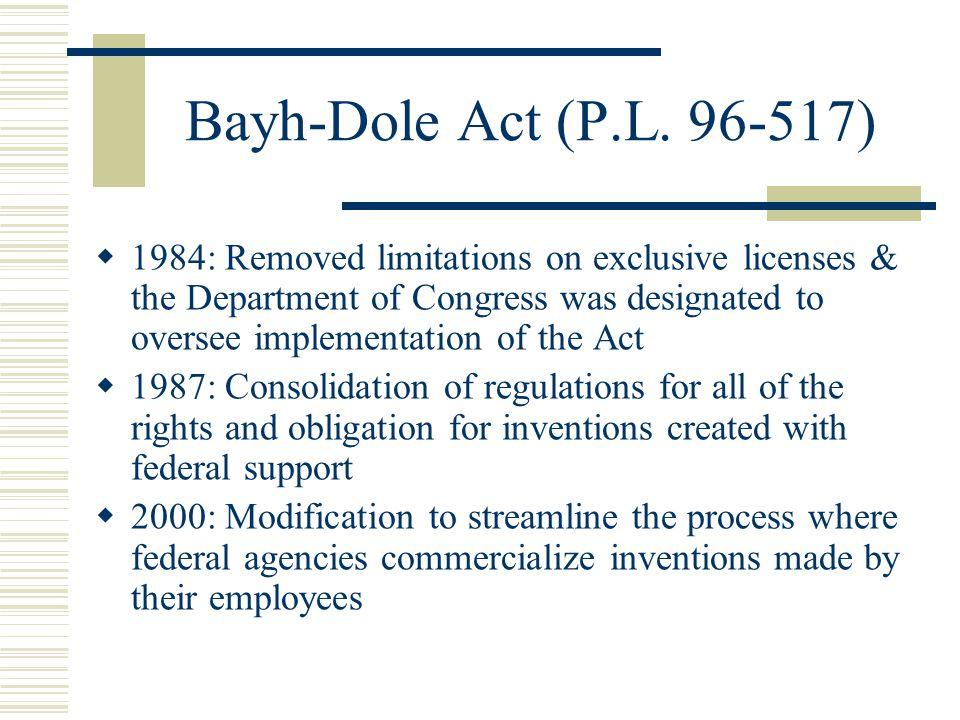 Bayh-Dole Act (P.L. 96-517)