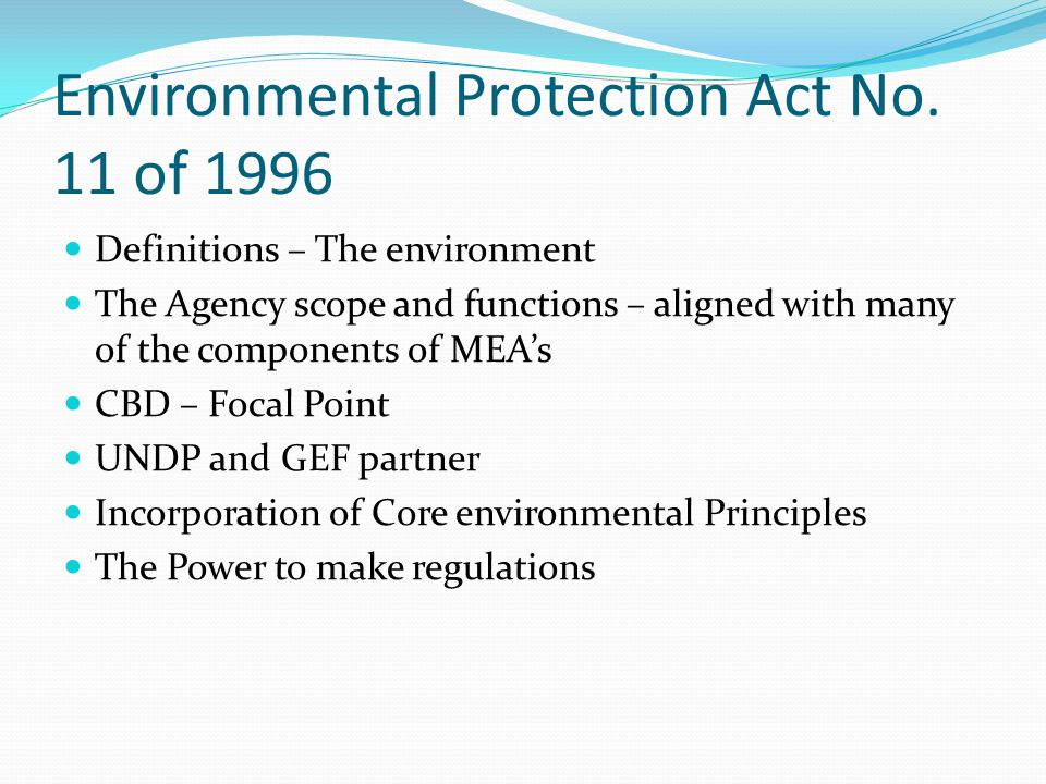 Environmental Protection Act No. 11 of 1996