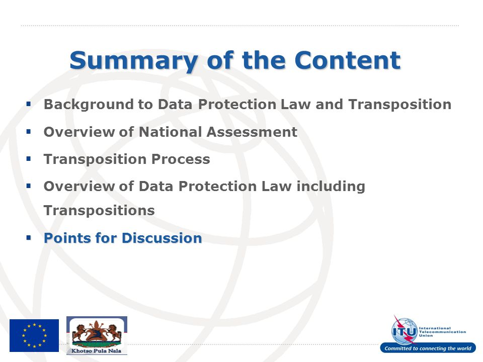 Summary of the Content Background to Data Protection Law and Transposition. Overview of National Assessment.