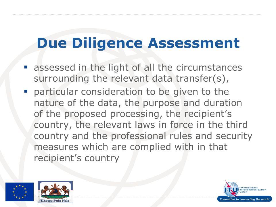 Due Diligence Assessment