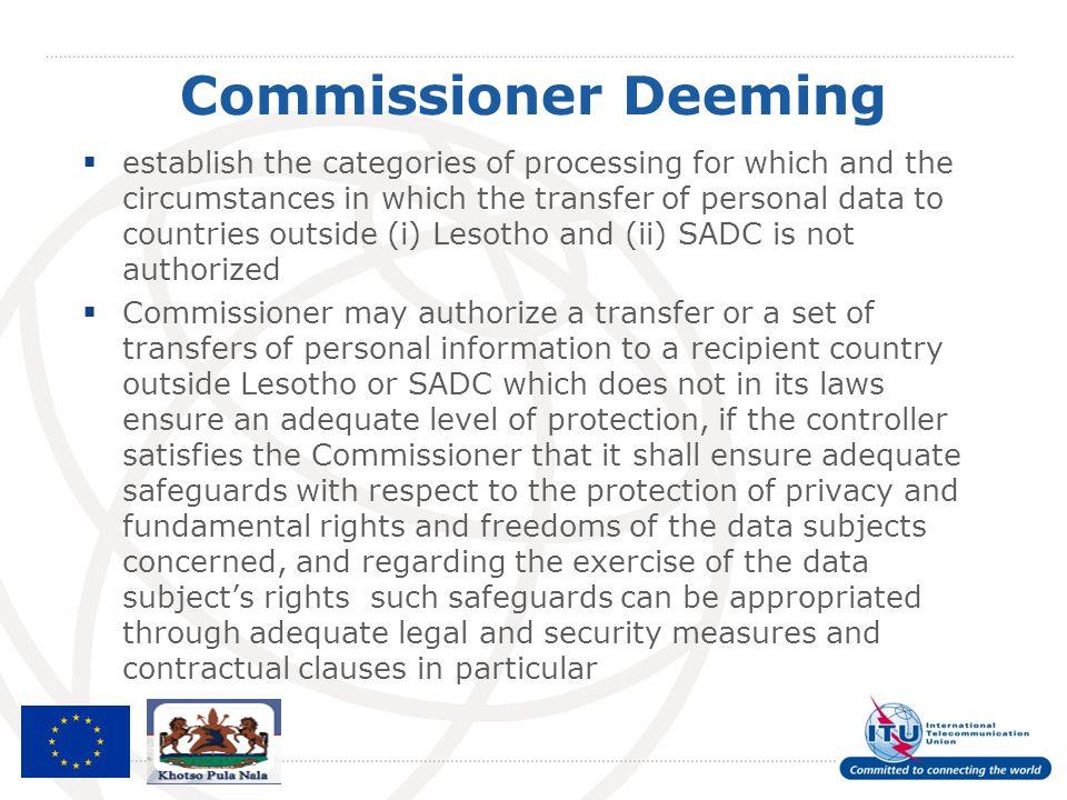 Commissioner Deeming