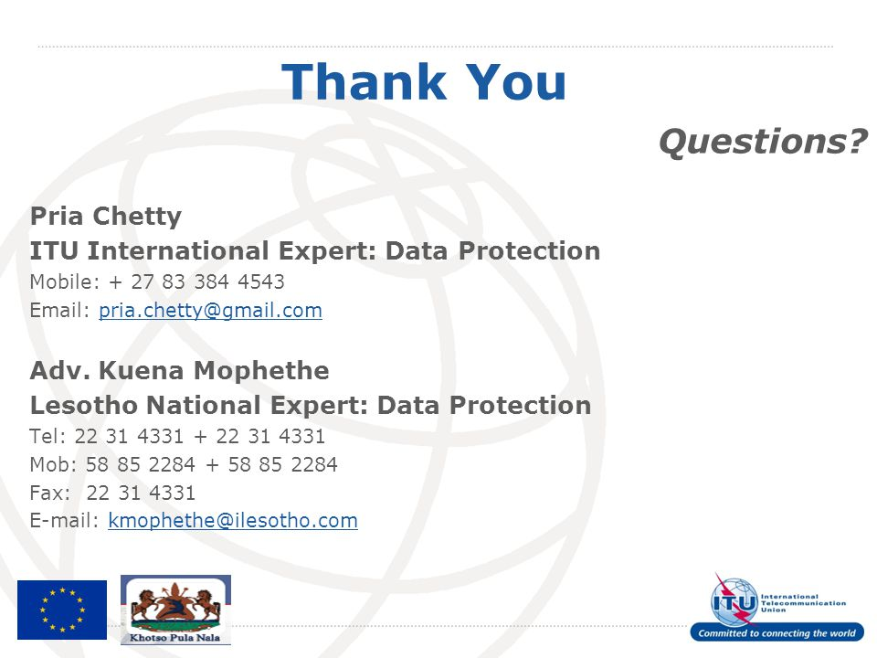 Thank You Questions Pria Chetty